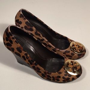 Tory Burch Sophie Leopard Wedge Heels Women 10.5 M